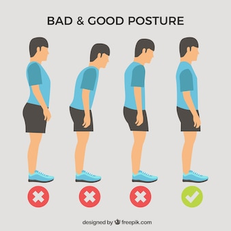 Standing boy pack with correct and incorrect posture