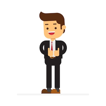 Standing business man showing thumbs up gesture sign