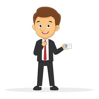 Постоянный бизнесмен показывает визитную карточку