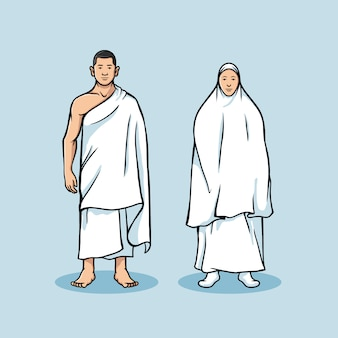 Standing couple figure of hajj pilgrimage