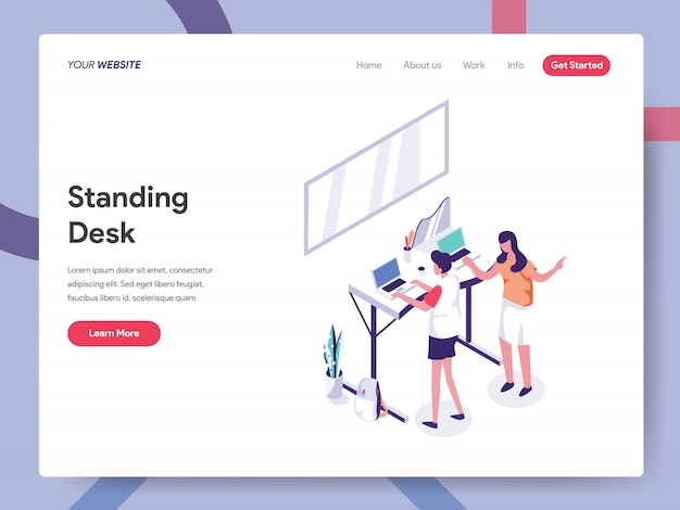 Standing desk landing page