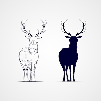 Standing horned deer silhouette with sketch template