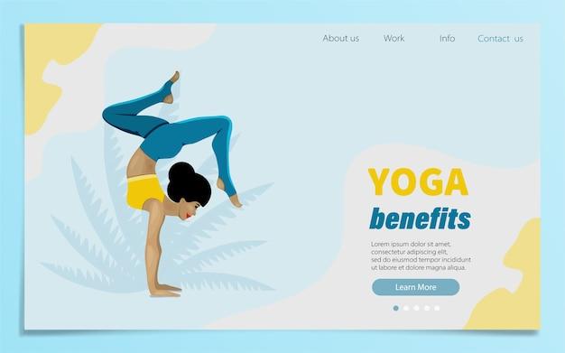 Стоя в упражнении адхо мукха врикшасана. йога, концепция медитации, польза для здоровья тела, контроль над разумом и эмоциями. шаблон веб-страницы школы йоги, студии.