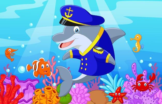 Standing little cartoon dolphin
