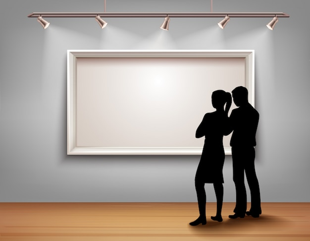 Standing people silhouettes in front of picture frame in art gallery interior