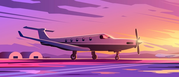 A standing plane. travel by airplane. sunset.