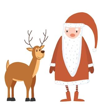 Стоящий санта-клаус с оленями мультяшные рождественские праздничные персонажи дед мороз и животное