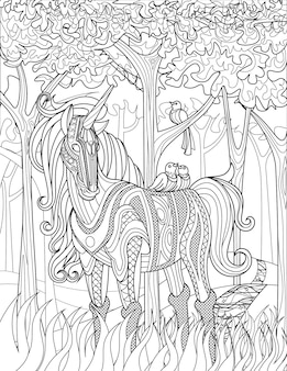 Standing unicorn in a forest with two birds on its back colorless line drawing mythical horned