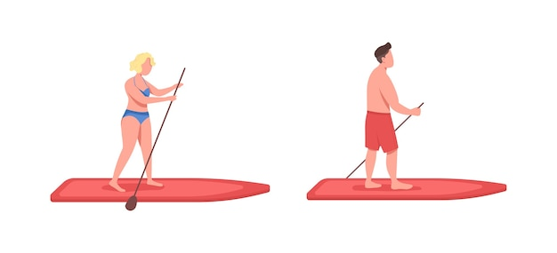 Standup paddleboarding flat color faceless character set. sportsman on surfboard. woman on board. active lifestyle isolated cartoon illustration for web graphic design and animation collection