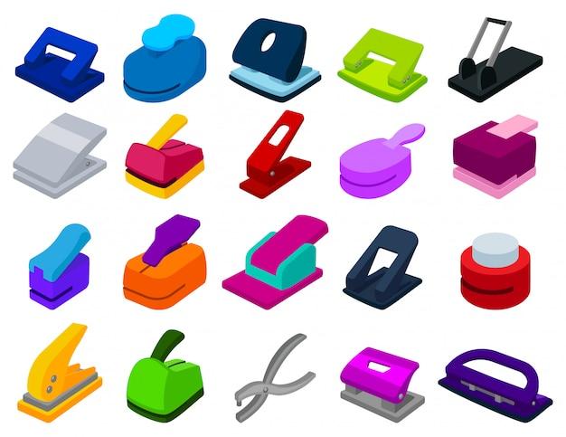 Stapler cartoon set icon. illustration puncher on white background. isolated cartoon set icon stapler.