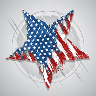 Star america usa flag abstract grunge eps element vector