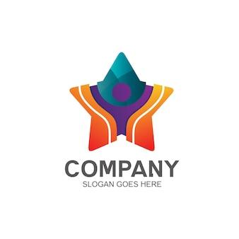 Дизайн логотипа в форме звезды и человека