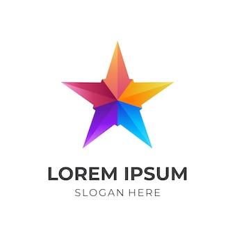 Логотип со стрелкой в виде звезды, звезда и стрелка, комбинированный логотип с красочным 3d стилем