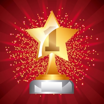 Star award trophy icon number one stars dot background