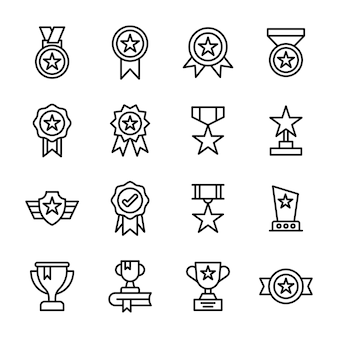 Star awards line icons pack