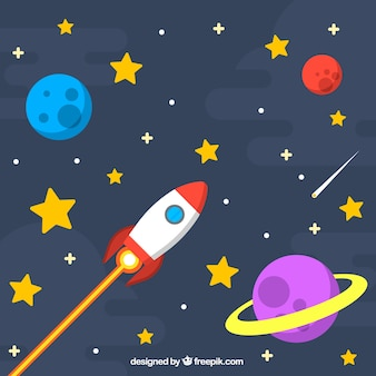 Star background with rocket and planets