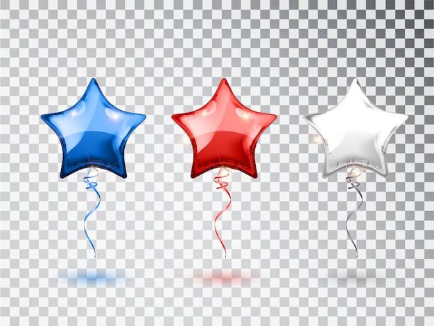 透明な背景に分離されたアメリカの国旗の国旗の色の星の風船。アメリカ挨拶デザイン要素。国民の休日の背景や誕生日パーティーの要素