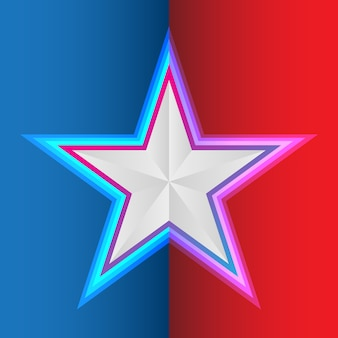 Star on blue red background