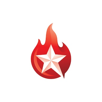 Star and burning fire flame logo