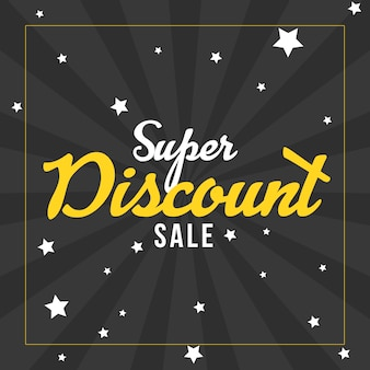 Star burst style super discount sales banner template