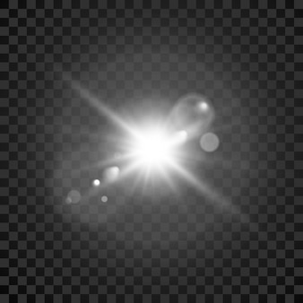 스타 버스트. 투명한 광선 조명 효과. 스타 버스트. 렌즈 효과가있는 밝은 플래시. 벡터