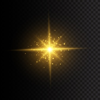 The star burst with brilliance. a flash of sun with rays and spotlight. yellow glowing lights star. special effect isolated on transparent background.