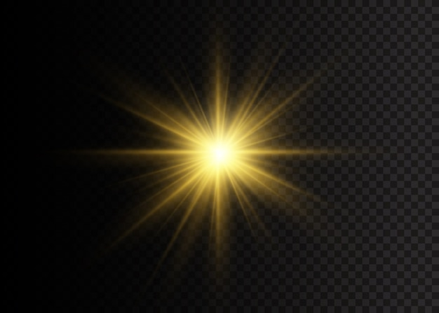The star burst with brilliance. yellow glowing lights star. a flash of sun with rays and spotlight. special effect isolated on transparent background. illustration,  .