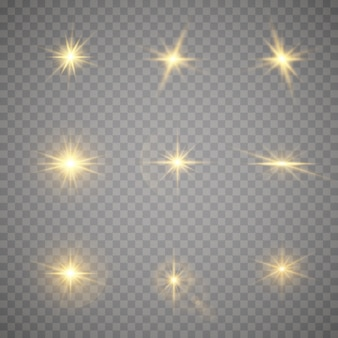 The star burst with brilliance. yellow glowing lights star. a flash of sun with rays and spotlight. special effect isolated on transparent background.