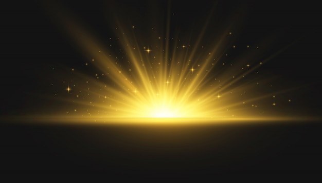 The star burst with brilliance. yellow glowing lights sun rays. flash of sun with rays and spotlight. special lights effect isolated on transparent background. illustration,  .
