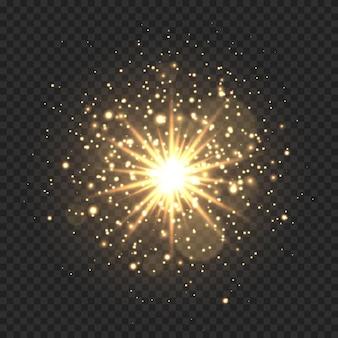 반짝임과 보케가있는 스타 버스트. 별, 반짝임과 반짝이 투명 배경에 고립 된 황금 빛 플레어 효과. 스타 더스트와 빛나는 글로우 스타의 그림