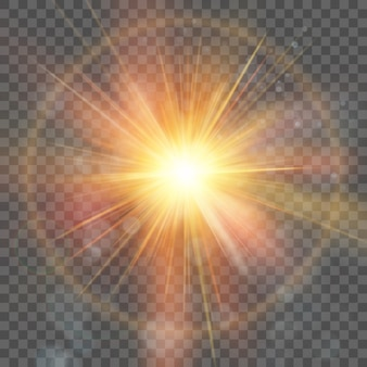 Star burst with sparkles. explosion on transparent background. lens flare, rays, star. and also includes