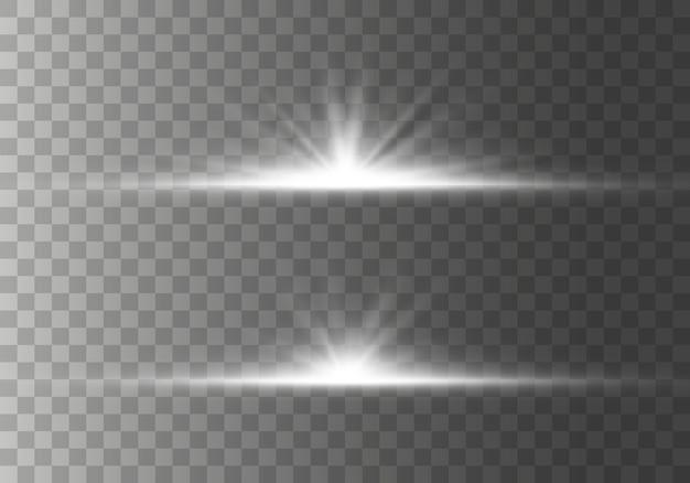 輝きのあるスターバーストグローライト効果、星、火花、フレア、爆発。輝く水平スターライトレンズフレアのセット、透明な背景のボケコレクションと光線。図