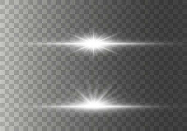きらめきのあるスターバーストグローライト効果、星、火花、フレア、爆発