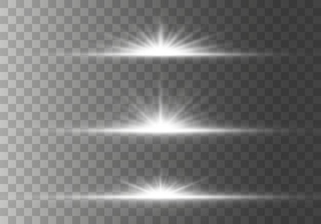 きらめきのあるスターバーストグローライト効果、星、火花、フレア、爆発。