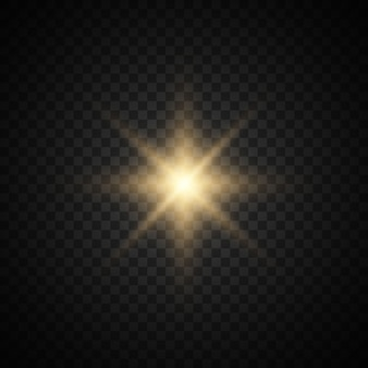 Star burst with sparkles. gold glitter bright star.