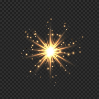 Звезда вспыхнула блестками. эффект золотой световой вспышки со звездами, блестками и блеском, изолированных на прозрачном фоне. иллюстрация блестящей звезды свечения с звездной пылью, бликами золотых линз.