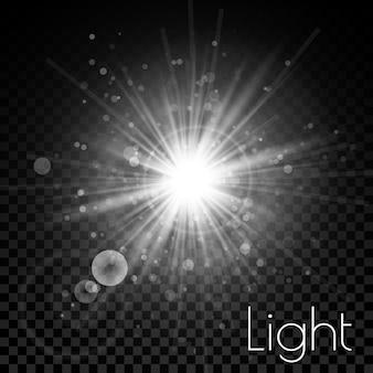 Star burst with sparkles. light effect. transparent glitter texture.