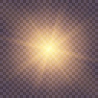 キラキラとスターバースト。黄色の輝く光のセットが透明な背景で爆発します