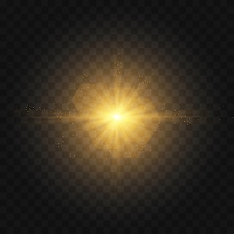 Star burst with sparkles. set of yellow  glowing light explodes on a transparent background