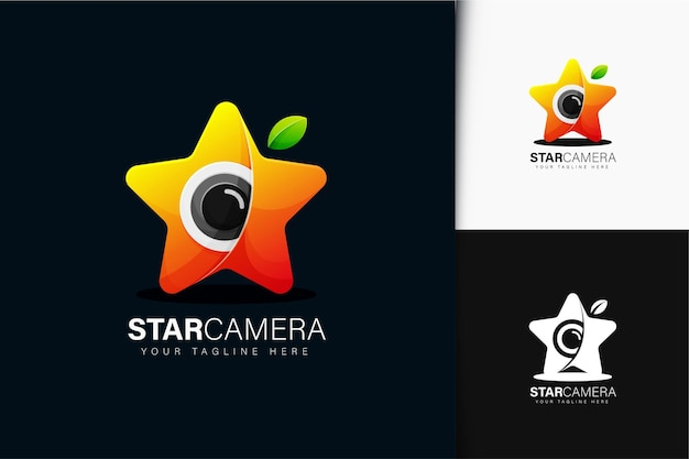 Star camera logo design with gradient