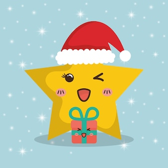 Star cartoon and gifts of chistmas design