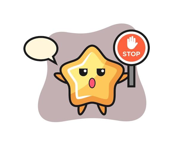 정지 신호를 들고 있는 스타 캐릭터 그림, 티셔츠, 스티커, 로고 요소를 위한 귀여운 스타일 디자인
