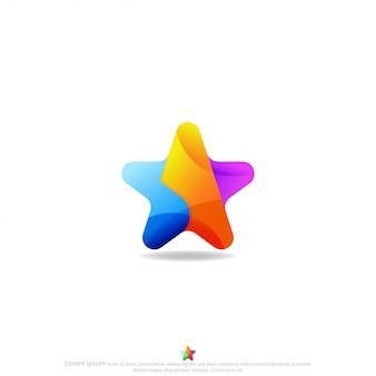 星のカラフルなロゴデザインのベクトル