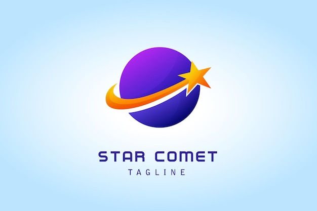 회사를위한 원형 행성 그라디언트 로고가있는 별 혜성