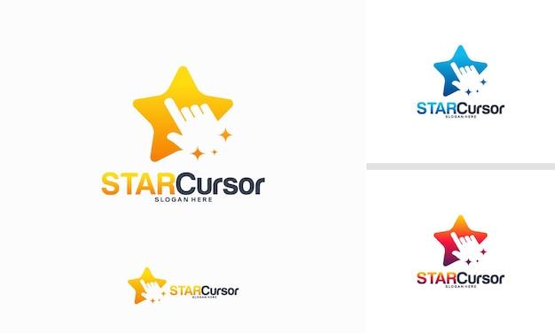 스타 커서 로고 디자인 개념, 아이코닉 스타 테크 로고 템플릿 벡터
