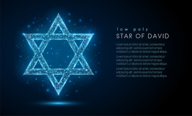 Star of david. low poly style design.