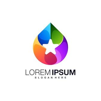 Шаблон красочного логотипа star drop
