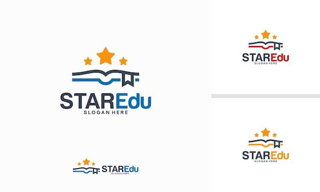 스타 교육 로고 디자인 개념, 엘리트 학교 로고 템플릿 벡터