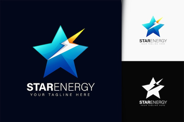 그라데이션이 있는 스타 에너지 로고 디자인