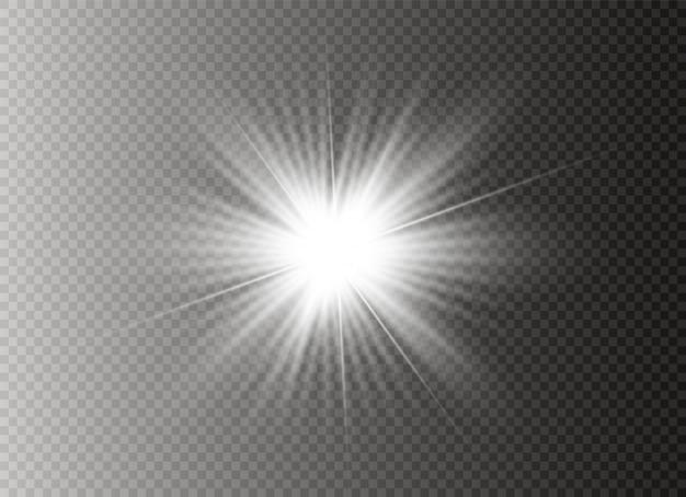 Star explodes. the transparent shining sun, bright flash
